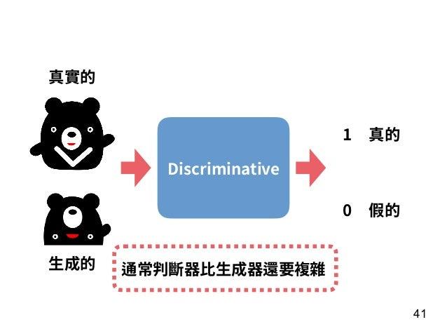 41 Discriminative 真實的 ⽣成的 1 0 真的 假的 通常判斷器⽐⽣成器還要複雜