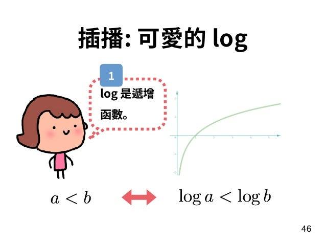 46 插播: 可愛的 log log 是遞增 函數。 1