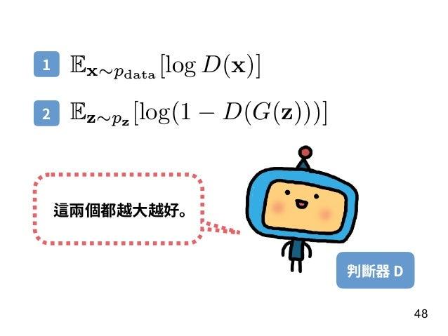 48 Ex∼pdata [log D(x)] Ez∼pz [log(1 − D(G(z)))] 判斷器 D 這兩個都越⼤越好。 1 2