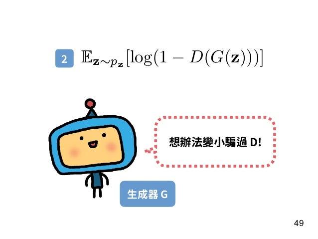 49 Ez∼pz [log(1 − D(G(z)))] 想辦法變⼩騙過 D! 2 ⽣成器 G