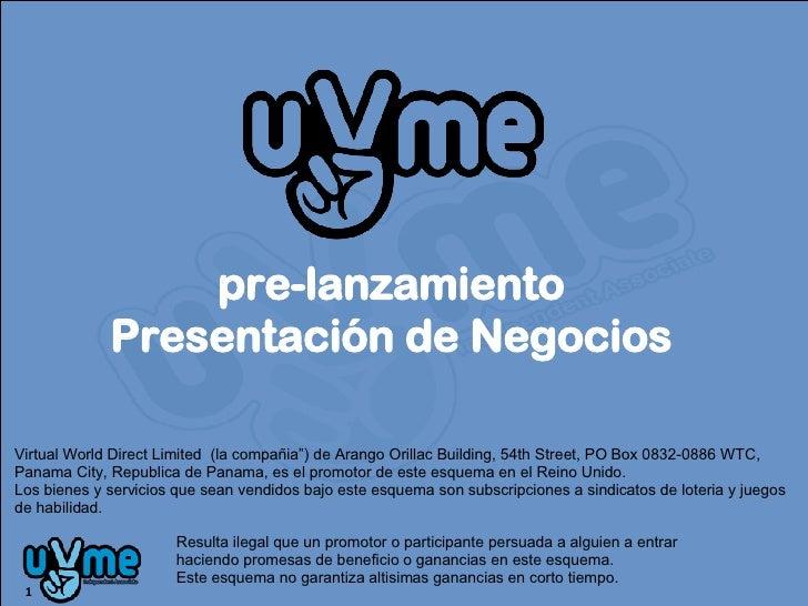 """pre-lanzamiento Presentación de Negocios Virtual World Direct Limited  (la compañia"""") de Arango Orillac Building, 54th Str..."""