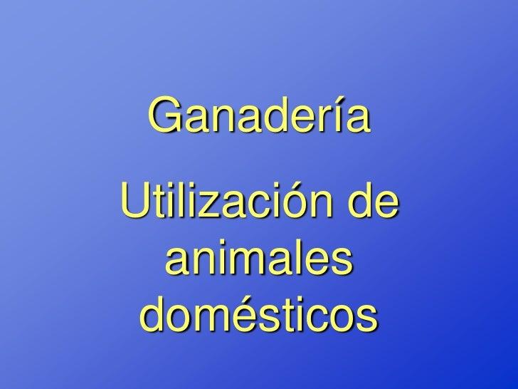 GanaderíaUtilización de  animales domésticos