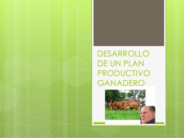 DESARROLLO DE UN PLAN PRODUCTIVO GANADERO