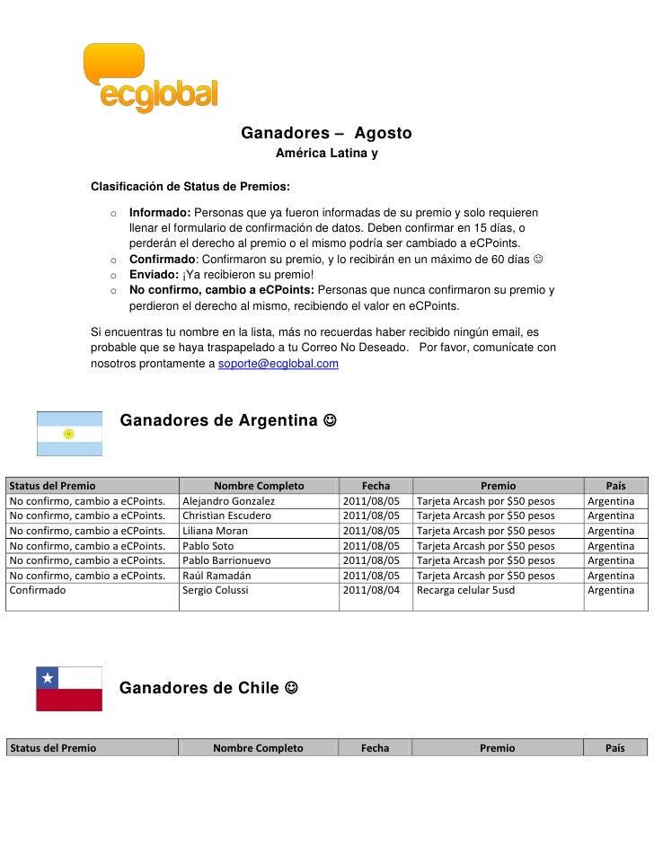 Ganadores – Agosto                                                   América Latina y                Clasificación de Stat...