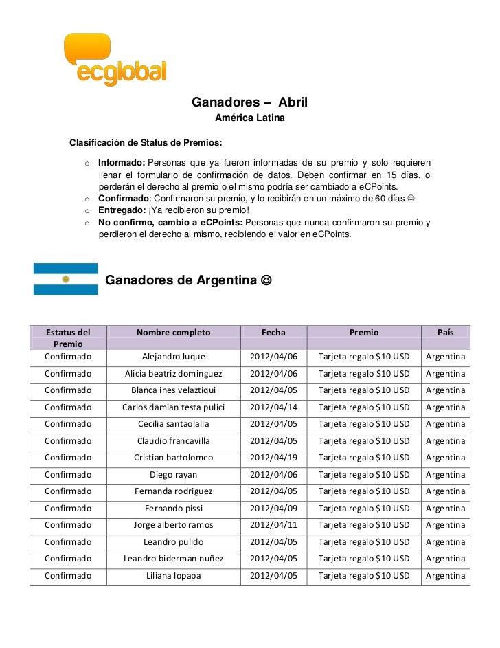 Ganadores – Abril                                           América Latina     Clasificación de Status de Premios:        ...