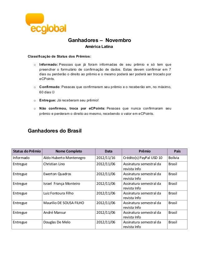 Ganhadores – Novembro                                              América Latina           Classificação de Status dos Pr...