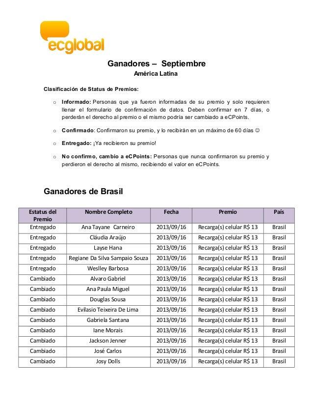 Ganadores – Septiembre América Latina Clasificación de Status de Premios: o Informado: Personas que ya fueron informadas d...