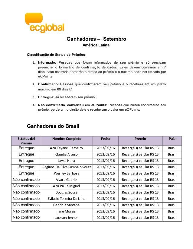 Ganhadores – Setembro América Latina Classificação de Status de Prêmios: 1. Informado: Pessoas que foram informados de seu...