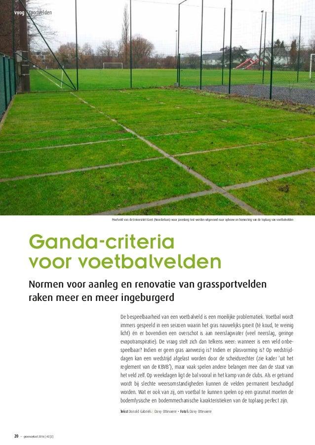 Ganda-criteria voorvoetbalvelden Normen voor aanleg en renovatie vangrassportvelden raken meer en meer ingeburgerd De be...
