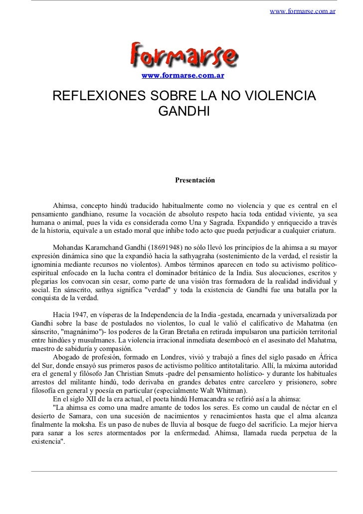 www.formarse.com.ar                                      www.formarse.com.ar       REFLEXIONES SOBRE LA NO VIOLENCIA      ...