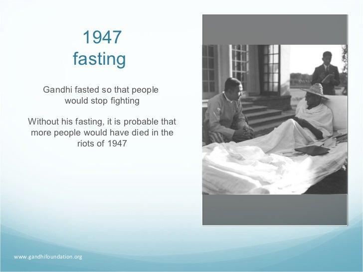 1947 fasting Gandhi fasted so