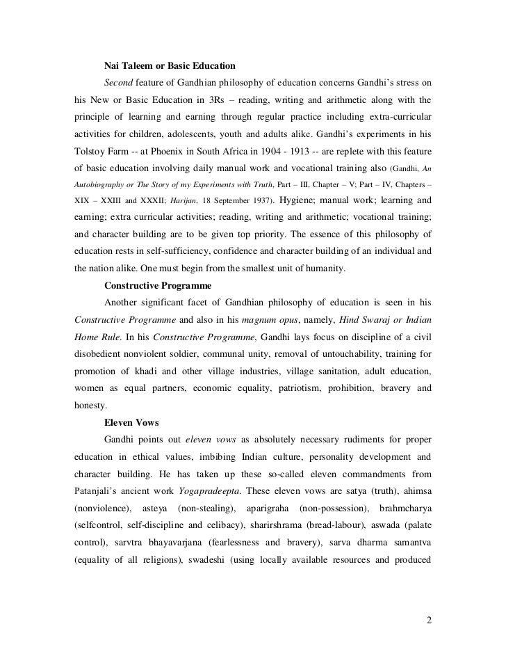 gandhi views on education pdf