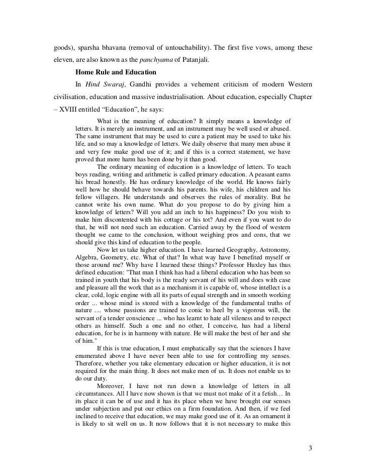 gandhian philosophy on education