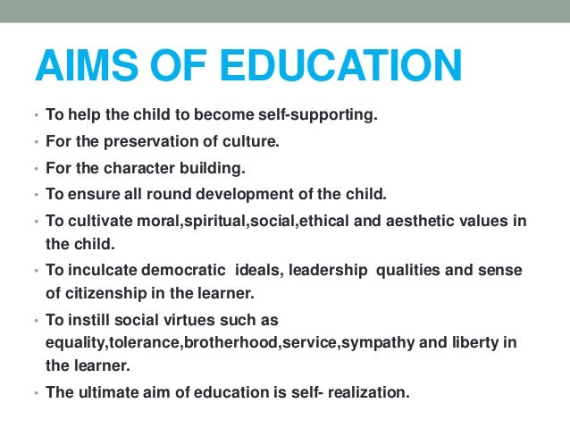 aims of education in philosophy