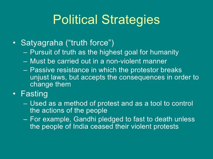 """gandhis key concepts of passive resistance non To him passive resistance was a method of securing rights by personal suffering it was the reverse of resistance by arms (hs pg 88) he pursued securing rights for indians in south america using """"passive resistance."""