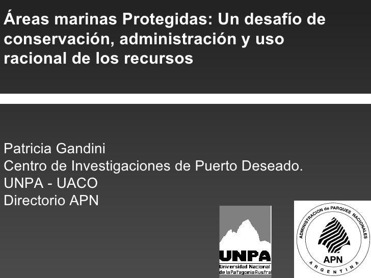 Áreas marinas Protegidas: Un desafío de conservación, administración y uso racional de los recursos Patricia Gandini Centr...