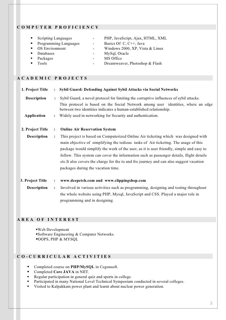 ... 2. COMPUTER PROFICIENCY  Scripting Languages ...  Language Proficiency Resume