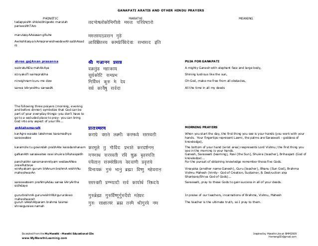 Ganesha Arati(marathi-english) and Aarti translations