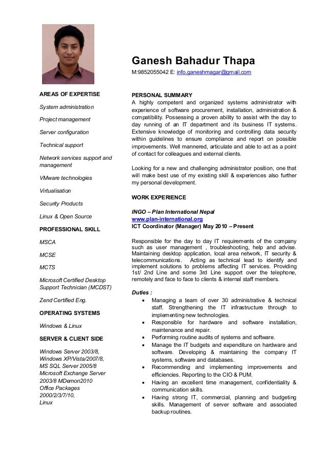 cv for it support