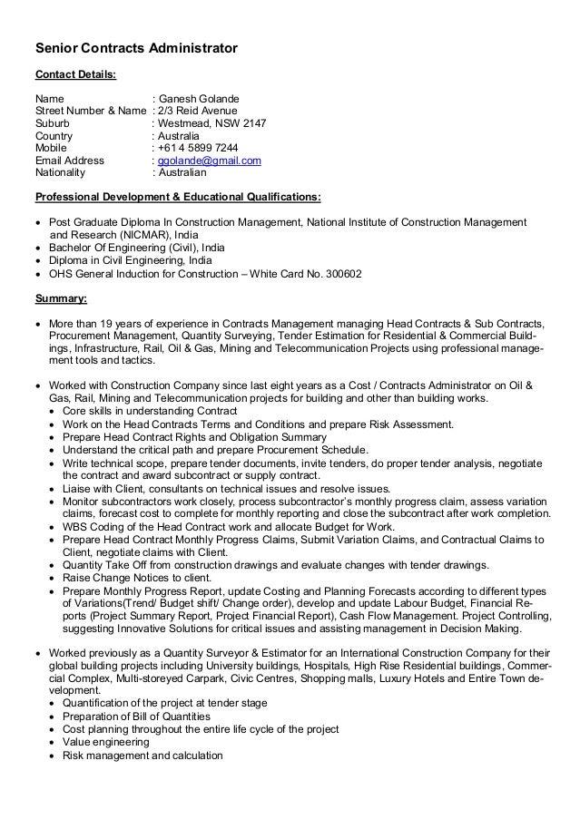 Ganesh Golande-CV-Senior Contracts Administrator