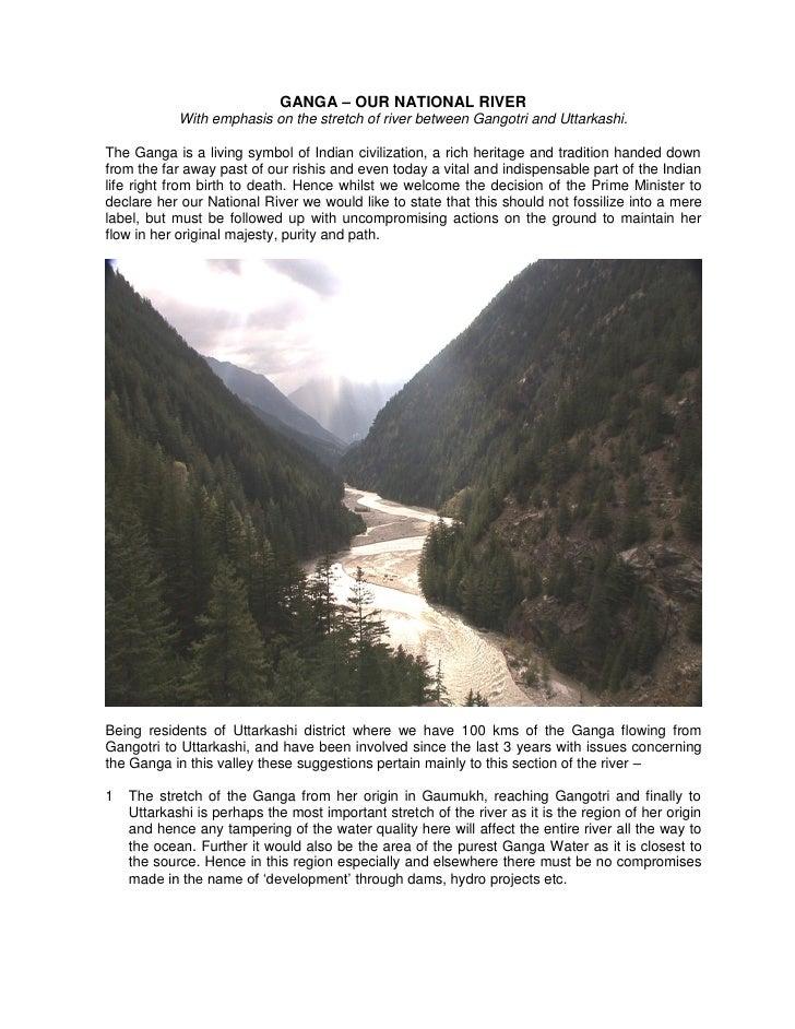Ganga   proposasl for national river