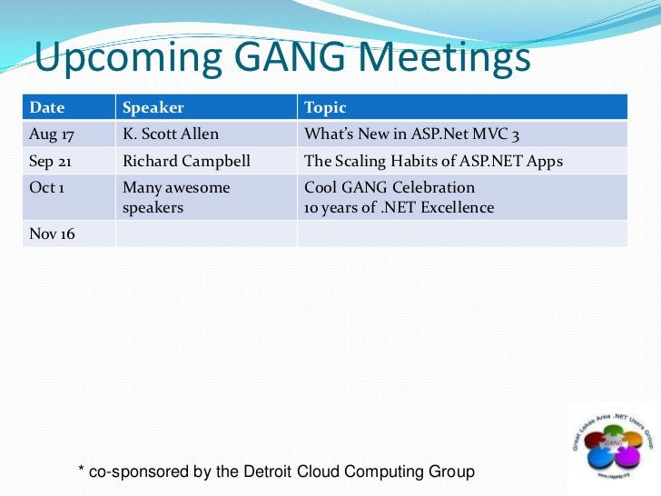 Upcoming GANG Meetings<br />* co-sponsored by the Detroit Cloud Computing Group<br />
