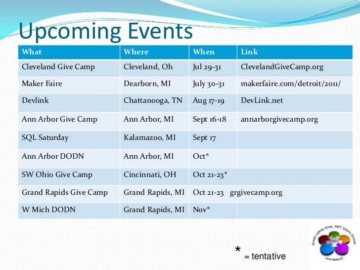 Upcoming Events<br />* = tentative<br />