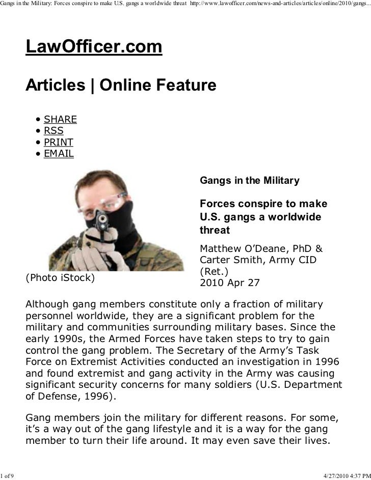 Gangs in the Military: Forces conspire to make U.S. gangs a worldwide threat http://www.lawofficer.com/news-and-articles/a...