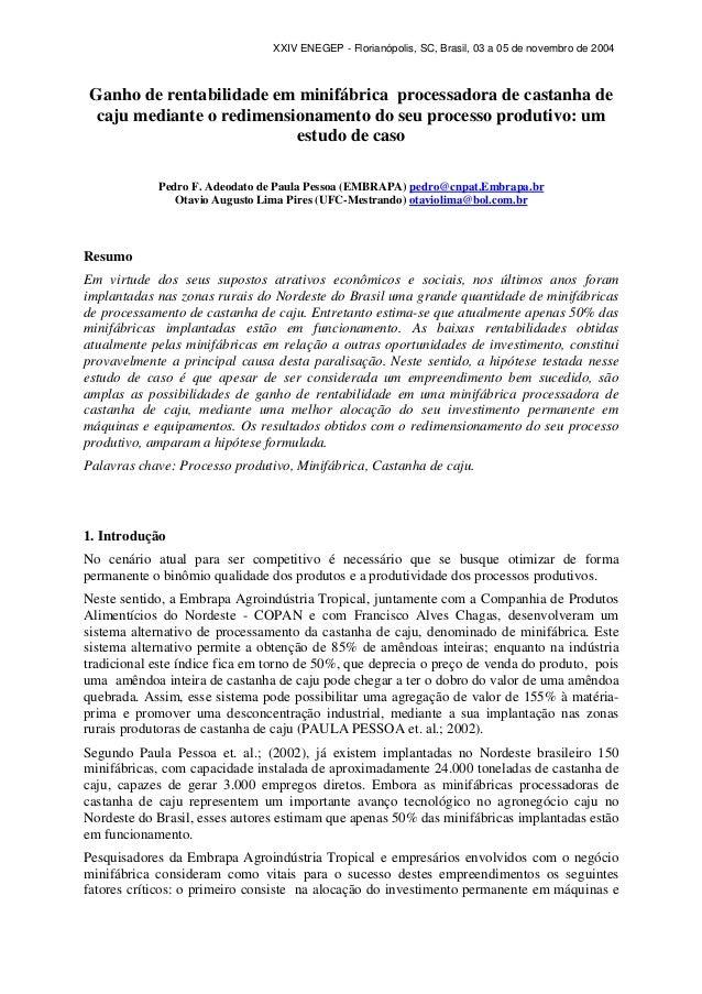 XXIV ENEGEP - Florianópolis, SC, Brasil, 03 a 05 de novembro de 2004  Ganho de rentabilidade em minifábrica processadora d...
