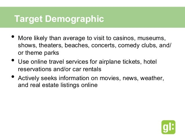 Our target geographic  area is:•Close to Atlantic  City•Wealthier than  average•More likely to check  in on Facebook