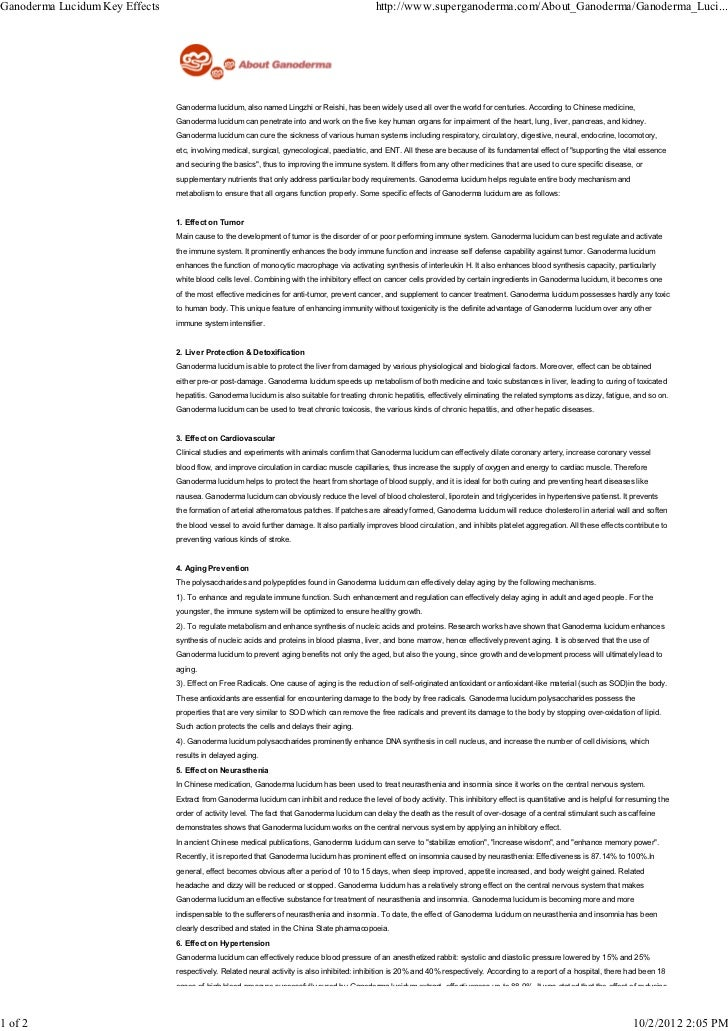 Ganoderma Lucidum Key Effects                                                                 http://www.superganoderma.co...