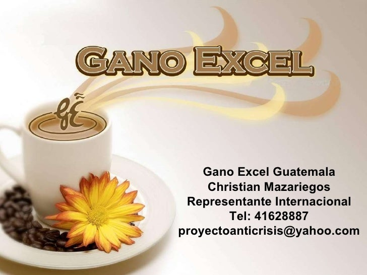 Gano Excel Guatemala Christian Mazariegos Representante Internacional Tel: 41628887 [email_address]