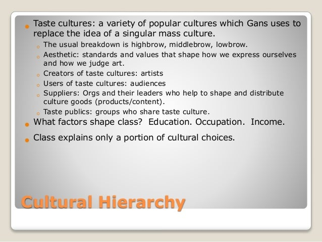 herbert gans Standards and definitions of low culture in his book popular culture and high culture, herbert j gans gives a definition of how to identify and create low culture.