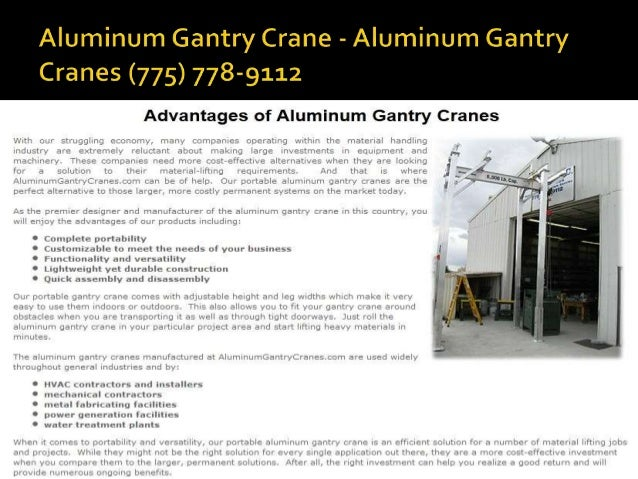 Aluminum Gantry Elko   Aluminum Gantry Cranes (775)778 9112; 5.