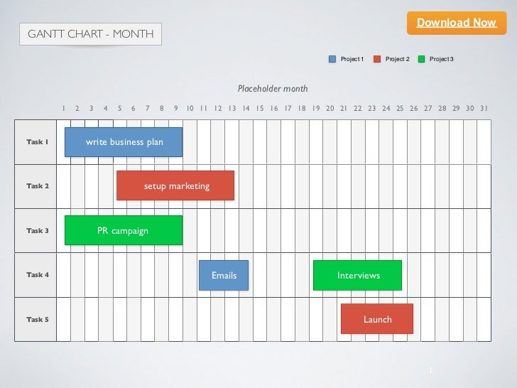 Keynote Template Gantt Chart  Month