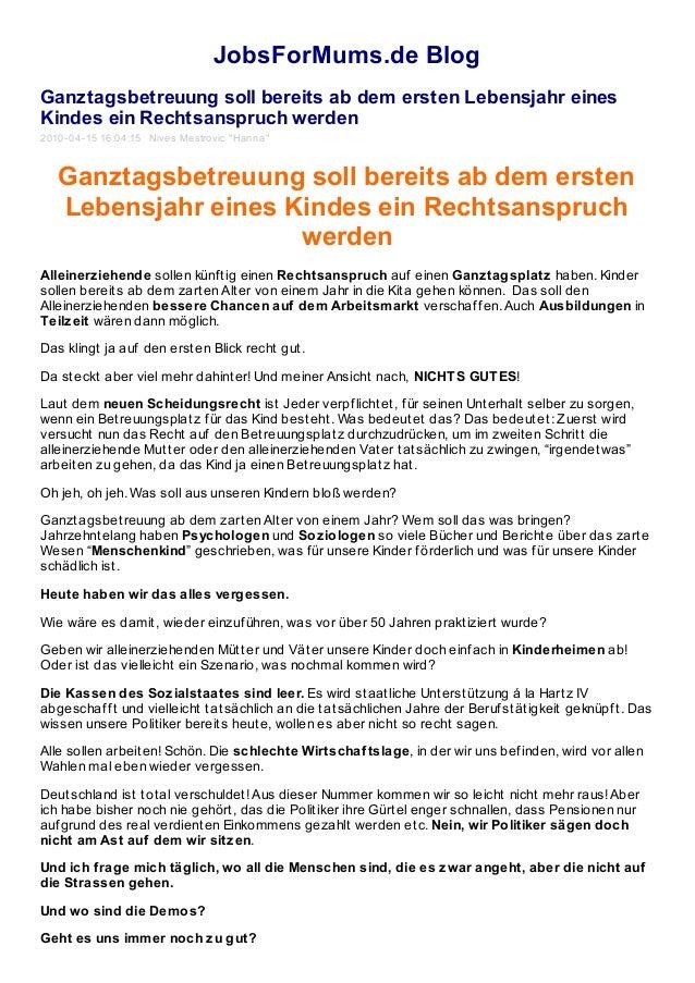 JobsForMums.de Blog Ganztagsbetreuung soll bereits ab dem ersten Lebensjahr eines Kindes ein Rechtsanspruch werden 2010-04...