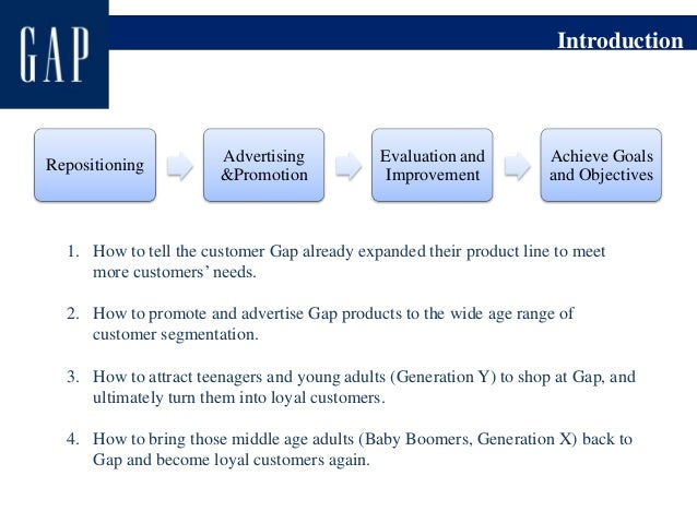 the gap inc marketing strategy and segmentation strategies Gap inc business strategy in the global market of fashion, style and accessories can be classified as cost leadership the retailer offers stylish and fashionable clothing items and accessories for competitive prices in simple terms, gap business strategy is associated with offering people the.