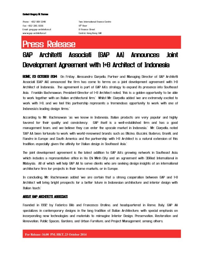 Gap Aa Announces Joint Development Agreement With  Architect