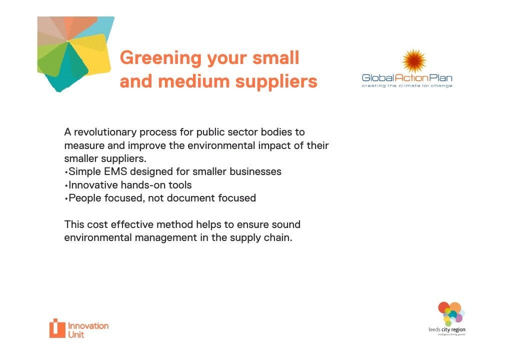 Greening your small                          Insert           and medium suppliers                         logo hereA revo...