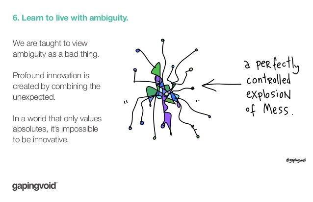 6. Learn to live with ambiguity. We are taught to view ambiguity as a bad thing. Profound innovation is created by combini...