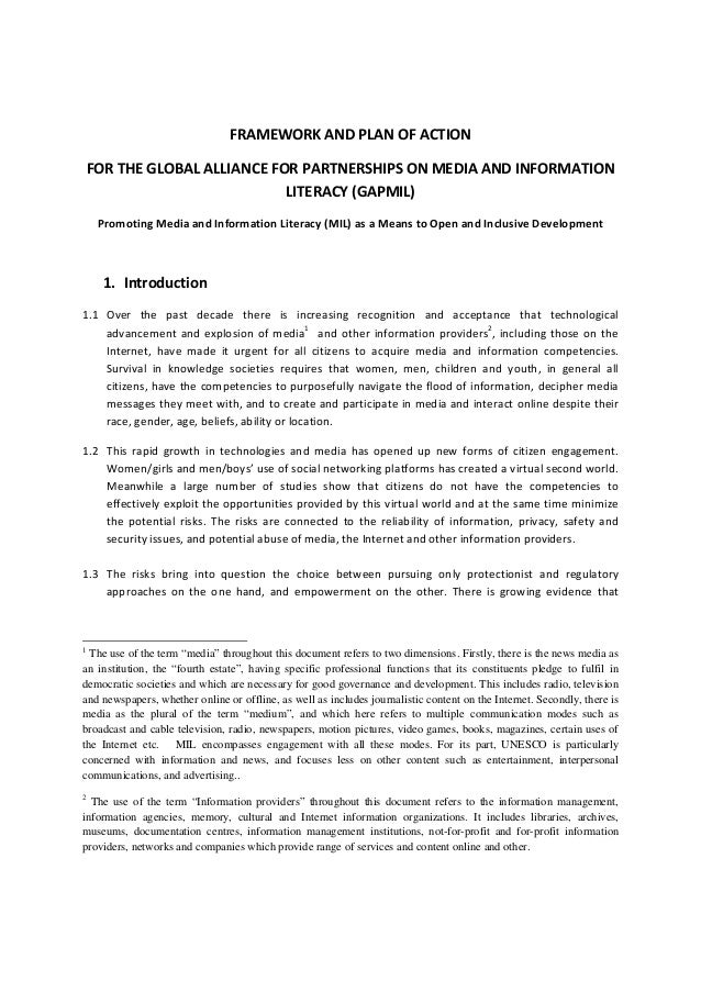 FRAMEWORK AND PLAN OF ACTION   FOR THE GLOBAL ALLIANCE FOR PARTNERSHIPS ON MEDIA AND INFORMATION  LITERACY (GAPMIL)  Promo...
