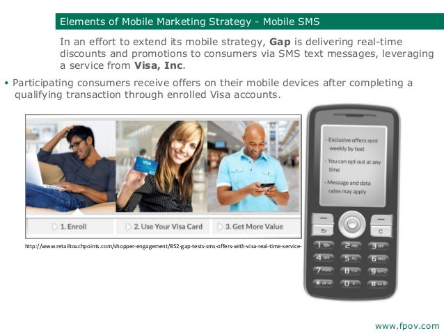 In an effort to extend its mobile strategy,Gap is delivering real-timediscounts and promotions to consumers via SMS text ...