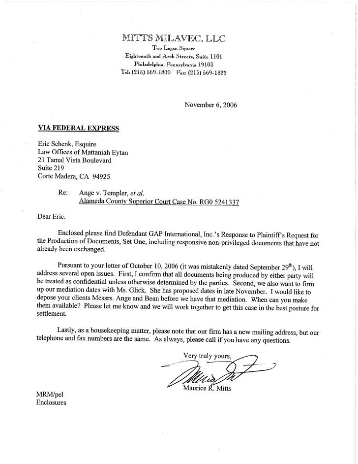Gap Pa Productions Of Documents Response  Only And Cover