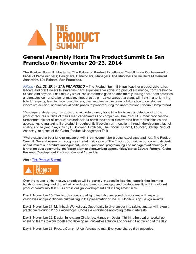 General Assembly Hosts The Product Summit In San Francisco On November 20-23, 2014 The Product Summit: Mastering The Futur...