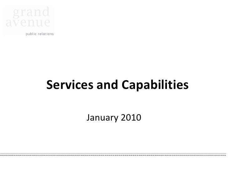 Services and Capabilities         January 2010