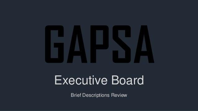 Executive Board  Brief Descriptions Review