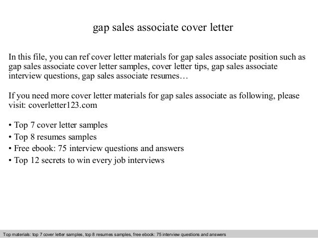 Gap Sales Associate Cover Letter In This File, You Can Ref Cover Letter  Materials For ...  Cover Letter For Sales Associate