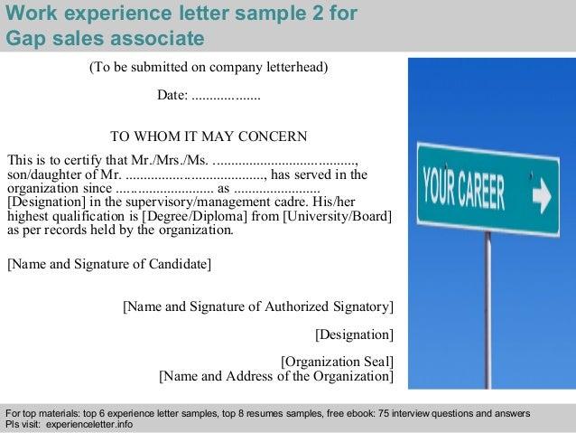 Gap sales associate experience letter