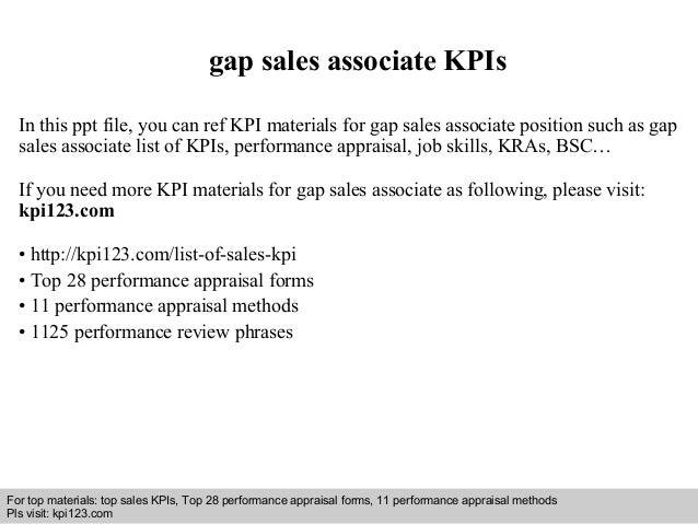 Gap sales associate kpis