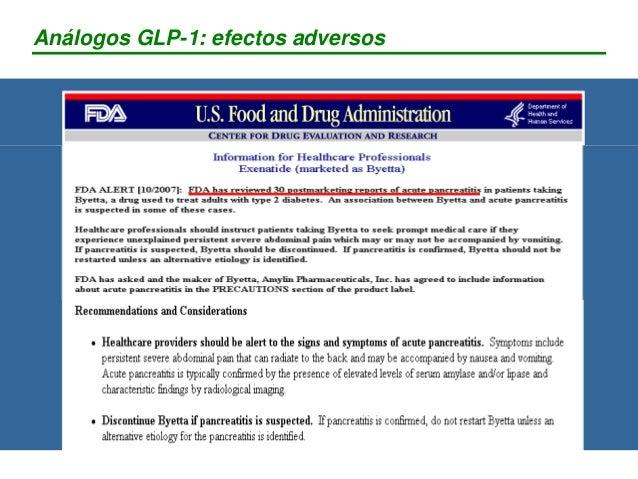 Análogos GLP-1: efectos adversos - Exenatide (Byetta®) - Liraglutide (Fase III) DESARROLLO ANTICUERPOS: 67% con exenatide ...